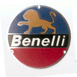 targhetta metallo rotonda per carter motore e coperchio volantino Benelli