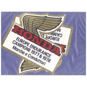coppia adesivi in pvc per HONDA Europe Endurance campione 1977 & 1988
