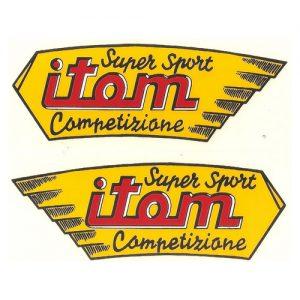 coppia di decalcomanie trasferibili a secco per serbatoio Itom Super Sport Competizione
