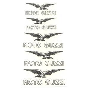 serie completa di decalcomanie trasferibili a secco di colore bianco e nero per Moto Guzzi anni '50