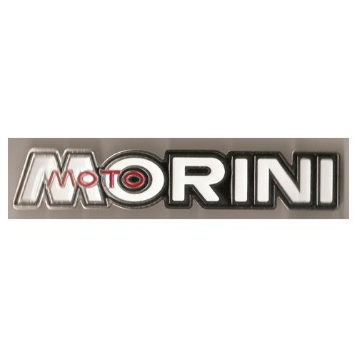 coppia fregi in metallo cromo e smalto bianco per serbatoio MOTO MORINI 125/250/350/500 cc