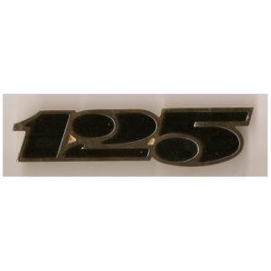 coppia fregi in metallo, cromo e smalto nero per fianchetti MOTO MORINI 125