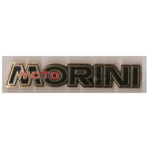 Coppia fregi in metallo, cromo e smalto nero per serbatoio MOTO MORINI 125 - 250 - 350 - 500