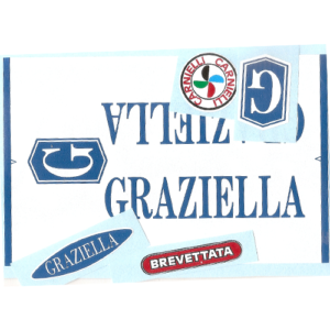 kit adesivi in pvc per bicicletta Graziella - colore bianco o azzurro - composto da 5 pezzi
