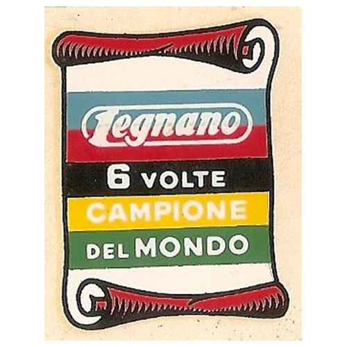 """adesivo in pvc per canna sotto sella con iride scritta """"6 volte campione del mondo"""" per biciclette LEGNANO anni 50/60/70"""