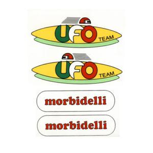 """kit di adesivi inpvc, foglio unico da ritagliare per moto da corsa MORBIDELLI """"Ufo Team"""""""