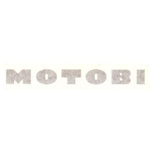 adesivo in pvc, scritta in lettere maiuscole spaziate per carene moto da corsa MOTOBI - colori bianco o nero
