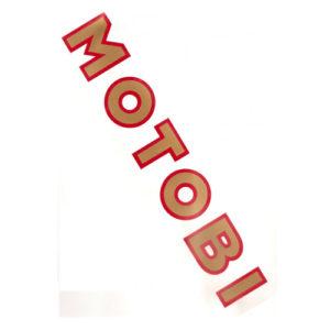 adesivo in pvc, scritta MOTOBI spaziata, per carene moto da corsa