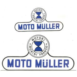 adesivo in pvc per serbatoio e fianchetti moto MULLER con motore MORINI FRANCO