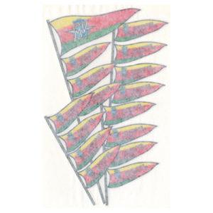 Adesivo in pvc, bandiere per serbatoio quattro aste per moto MV