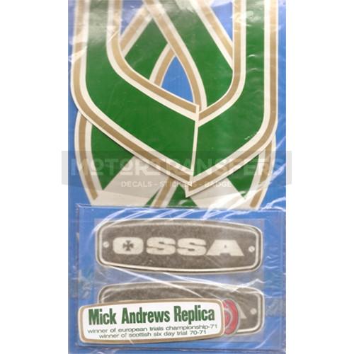 kita adesivi pvc + targhette resina per serbatoio, moto OSSA