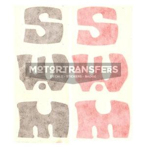 adesivo in pvc, scritta in verticale spaziata, per moto SWM